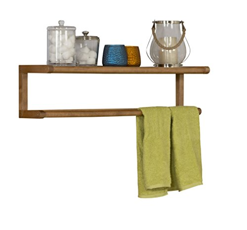 New Ridge Home Goods Abingdon Solid Birch Wood Towel BAR with Shelf, Cinnamon