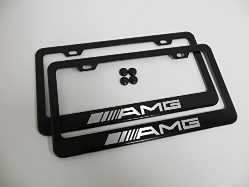 (Set of 2 AMG Black Metal License Plate Frame Mercedes-benz with Screw Cap Covers)