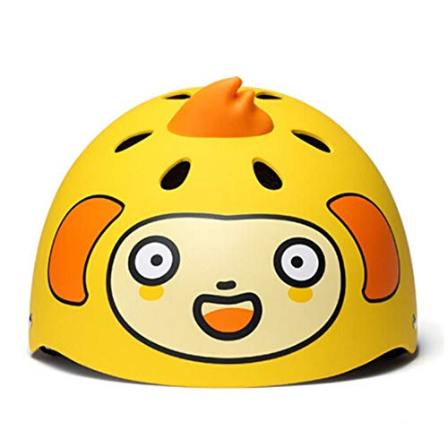 (AODD Kids Bike Helmet, Children Multi-Sport Safety Helmet, Fun Cartoon Animals, Adjustable Size, Removable Pad, Ultralight, Comfortable and Durable, for Bicycle Roller Skating, Gift for Kids (Yellow))