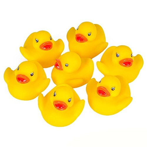 Kicko Tiny Rubber Duck Toys - 13 Pieces Yellow Duckies for Kids Party Favors, Gifts on Birthdays, Baby Showers, All-Time Favorite Bath Companion for Summer Beach and Pool Activity (Pink Ribbon Rubber Ducks)