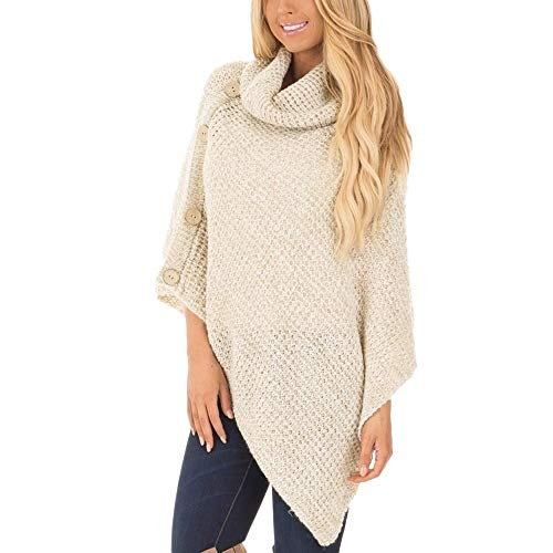 Kulywon Women's Knit Solid Turtleneck with Button Irregular Hem Pullover Sweaters Khaki