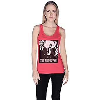Creo Pink Cotton Round Neck Tank Top For Women