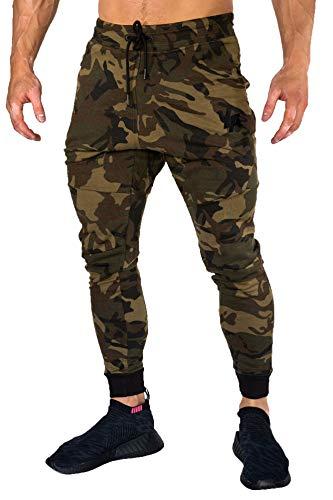 YoungLA Joggers Men Slim Fit Sweatpant Gym Workout Zipper Pocket 202 Camo Green Medium (Sweatpants Camo Men)
