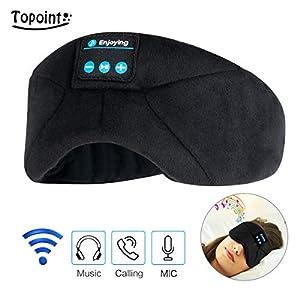 Sleep Headphones Bluetooth Eye Mask, TOPOINT Wireless Sleeping Mask Headsets Music Travel Eye Shades with Microphones, Best for Side Sleepers, Black