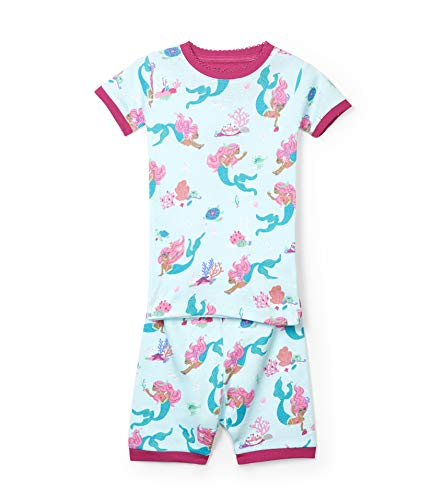 Hatley Girls' Little Organic Cotton Short Sleeve Printed Pajama Sets, Mermaid Tales, 5 Years