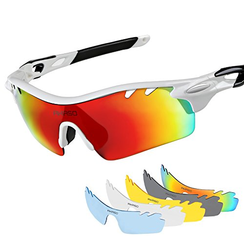 AKASO Men's Chameleon Multisport Polarized Sunglasses with 5 interchangeable lenses and 100% UV Protective Cycling - Glasses Bike