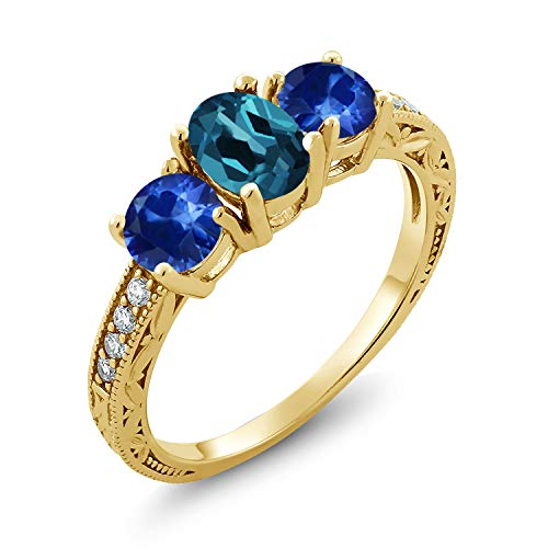 Gem Stone King 2.32 Ct Oval London Blue Topaz Blue Sapphire 18K Yellow Gold Plated Silver Ring (Size 7)