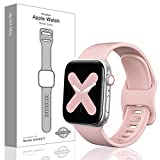 Tovelo Sport Band Compatible with Apple Watch Band 38mm 40mm, Soft Silicone Replacement Sport Strap Compatible with iWatch Series 5/4/3/2/1,Pink Sand