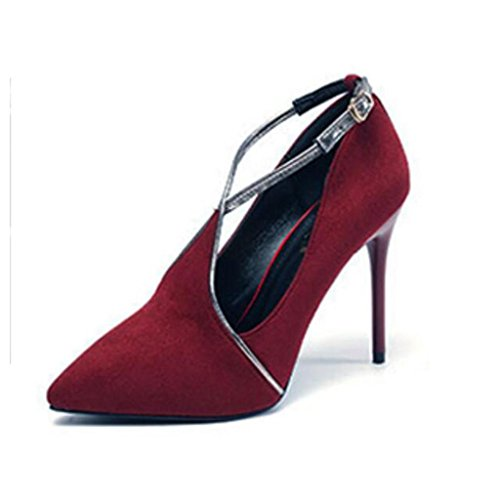 W&LM Ms High heels Suede Waterproof platform Ok Shallow mouth Single shoes Tip Shoe Red Wine