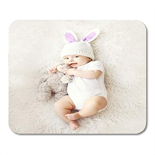"""Nakamela Mouse Pads White Easter of Sweet Cute Baby in Knitted Hat with Rabbit Ears and Teddy Bear Lying on The Top View Mouse mats 9.5"""" x 7.9"""" Mouse pad Suitable for Notebook Desktop Computers"""