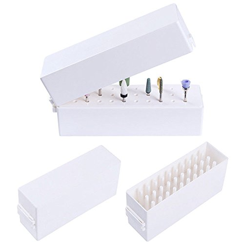 Gimiton Nail Drill Bits Holder Dustproof Stand Displayer Organizer Container 30 Holes Manicure Tools Acrylic Cover case Manicure Tools