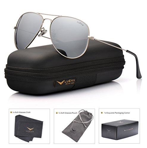 LUENX Mens Womens Aviator Sunglasses Polarized Silver Mirrored Lens Metal Frame with case UV 400 Protection Driving 60mm ()