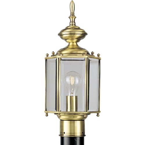 Progress Lighting P5430-10 Hexagonal Post Lantern with Beveled Glass, Polished - Outdoor Post Large Brass Polished