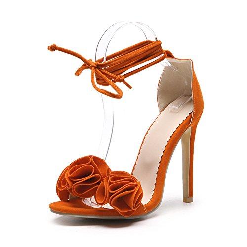 Zapatos de Mujer PU 2018 Nuevo Sexy Tacón Fino Ultra Alto Talón de Gran Tamaño Código 34-52 Zapatos Open Toe Ladies Boda/Fiesta y Noche Sandalias de Verano (Color : Naranja, Tamaño : 34)