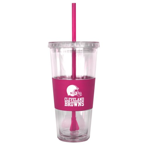 (Boelter Brands NFL Cleveland Browns Pink Tumbler with Straw, 22-Ounce)