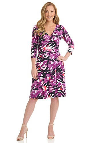 Rekucci Women's Slimming 3/4 Sleeve Fit-and-Flare Crossover Tummy Control Dress (12,Purple (Water Color Dress)