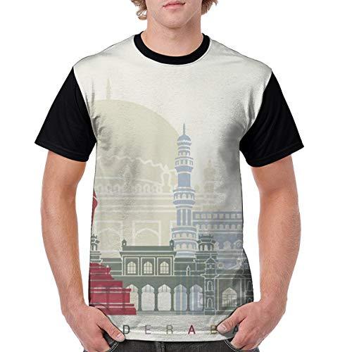 Men's Hyderabad Design Poster Novelty Casual Tshirt 3D Printed Crewneck Graphic Tees Unisex Black]()