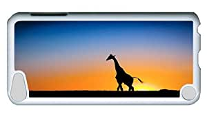 Rugged iPod Touch 5 Case, Giraffe At Sunset PC White Plastics Hardshell Case for iPod Touch 5 /iPod 5/ iPod 5th Generation