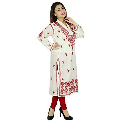 Casual Top túnica de regalo para ella diseñador Chikan bordado Kurta Mujeres Kurti White-3