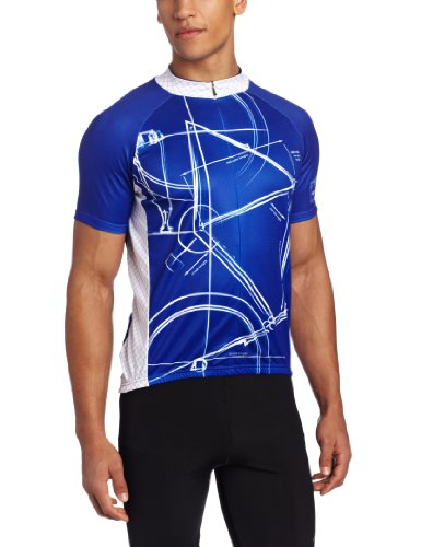 Primal Wear Men's Bike Print Cycling Jersey, Blue, - Bike Primal Wear