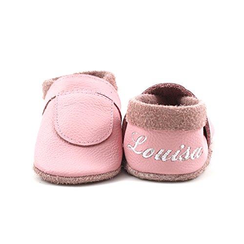 little foot company® 6242 Krabbelschuhe Babyschuhe Lauflernschuhe mit Namensstickerei Basic weiches Leder rosa 20/21 ca. 1 1/2 - 2 Jahre