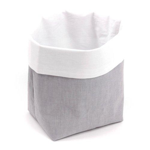 Sugarapple Utensilo Stoff Aufbewahrungsbox aus Baumwolle 19 x 13,5 x 13,5 cm, Stoffbox fürs Bad, als Wickeltisch Organizer oder Windelspender Korb, Oxford grau