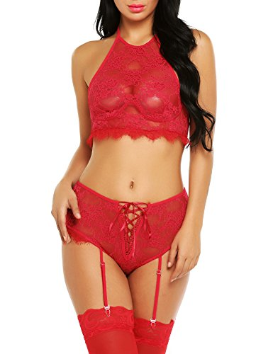ADOME Women Lingerie 2 Piece Halter Lace Babydoll Nightwear with Garters(XXL,Red)