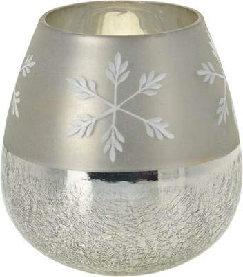 Courtney's Candles Glass JAR - Half Crackle with Snowflake Tall - Half Crackle Glass