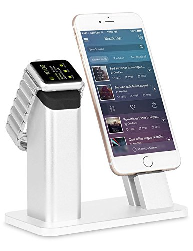 Apple Watch Series 2 Stand,ZIKU Aluminum Charging stand Dock Station -- Support Apple Watch NightStand Mode and iPhone 7/7 plus/SE/5s/6S/PLUS with Various Case(Sliver)