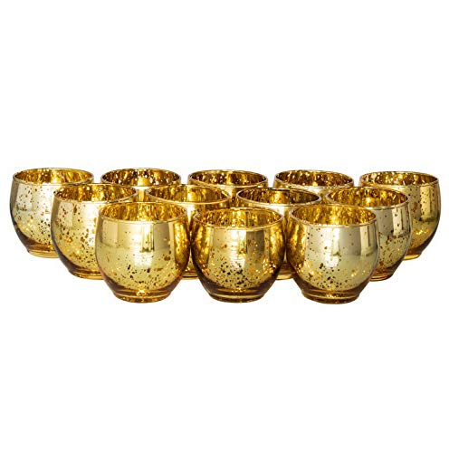 Mikash Gold Glass Votive Candle Holder, Table Centerpiece Tealight Tion for Elegant Dinner, Party, Wedding, Holiday, Roly Poly Set of 12 (Unfilled) | 12 | Model WDDNG - 1727 ()