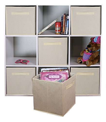 DUAL HANDLE by ADORN, Foldable Cloth Storage Cube Basket Bins Organizer Containers Drawers, 6 Pack -- Beige