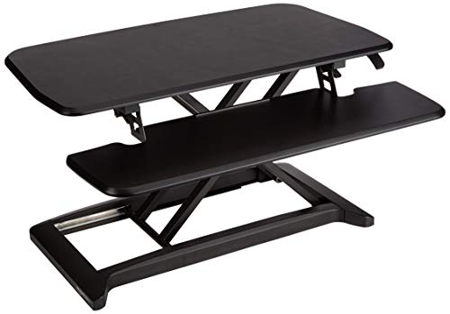 AmazonBasics Adjustable Standing Desk Attachment for Computer Monitor and Keyboard, Black