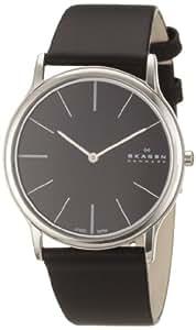 Skagen 858XLSLB - Reloj de caballero de cuarzo, correa de piel color negro