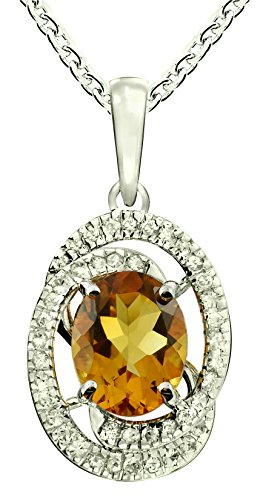 - RB Gems Sterling Silver 925 Pendant Necklace GENUINE GEMS Oval 10x8 mm RHODIUM-PLATED Finish, Bypass Look (citrine)