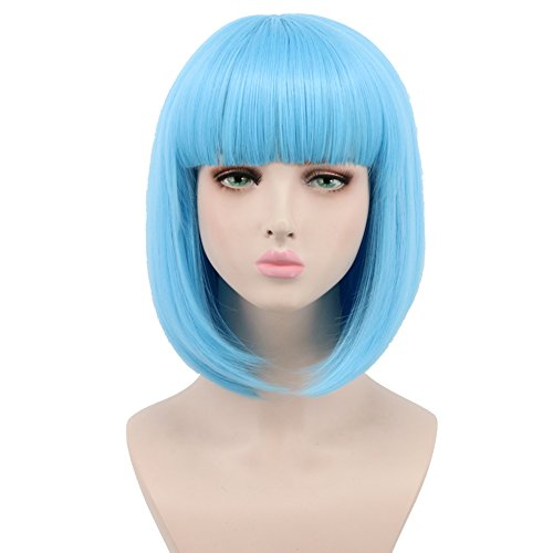 Yuehong Synthetic Short Blue Wig Bangs Female Haircut Natural Looking Women Cosplay Wigs (Blue)]()