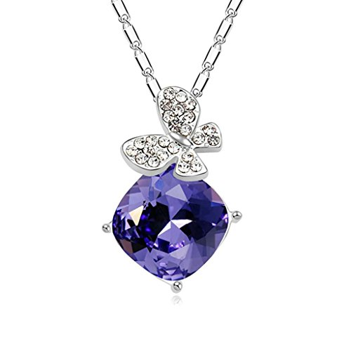 Daesar Gold Plated Women's Butterfly Necklace Rhinestone CZ Pendant Necklace for Women