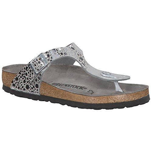 Metallic Strappy Flip Flop Sandal - Birkenstock Unisex Gizeh Birko-Flor Metallic Stones Silver Gray Sandals 7 W / 5 M US
