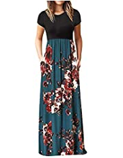 TARIENDY Floral Print Long Dress for Women Short Sleeve Maxi Dress Fashion Splicing Dress Elegant Waisted Dress