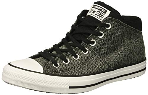 Converse Women's Chuck Taylor All Star Knit Madison Mid Sneaker, White/Black, 5 M - Black High Top Patent