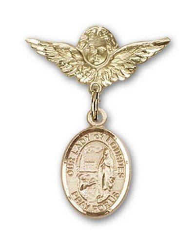Icecarats Or Bijoux De Créateurs Rempli O / L De Lourdes Charme Ange Broche De Badge 1 X 3/4