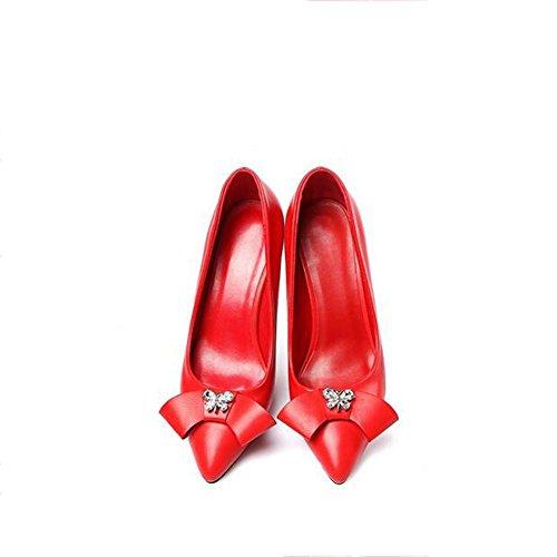 Zipfel Frauen Red Stiletto Heel Schuhe High Rot YC Schwarz Strass L w5qvX0n