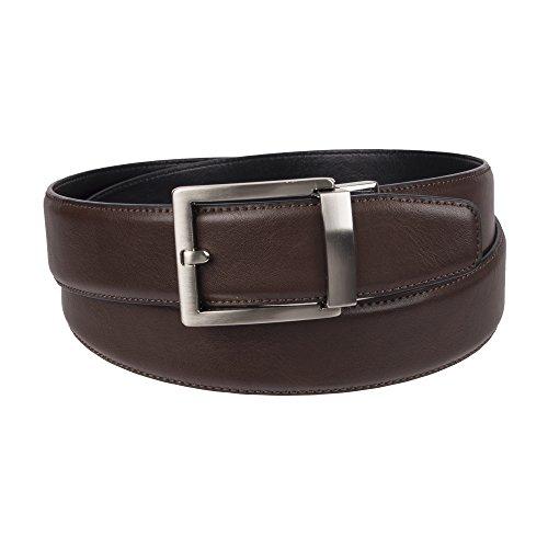 Big Leather - Weatherproof Men's Adjustable Comfort Fit Trackless Slide Belt, Brown/Silver Buckle, X-Large (44-46)