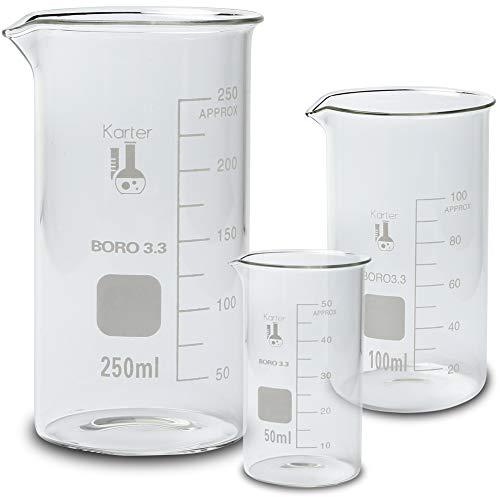 Glass Beaker Set, Tall Form, 3 Sizes - 50, 100 and 250ml, Karter Scientific 213F18