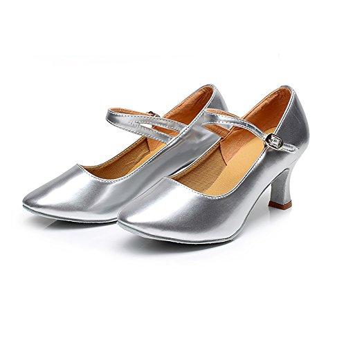 Wymname Danse Sociale Chaussures Latine Moyens Argent De 1 chaussures Moderne Womens Talons Cuir qtxArt