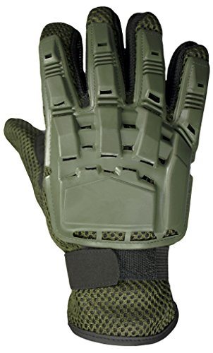 Mafoose Full Finger Plastic Back Airsoft Paintball Tactical Gloves Olive L Olive Paintball Glove