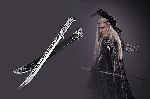 S0096 MOVIE THE HOBBIT ELVEN KING SWORD OF THRANDUIL W/ SCABBARD & DISPLAY 33.6""