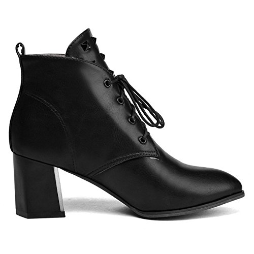 COOLCEPT Mujer Western Cordones Ankle Botas Tacon Ancho with Rivets Black