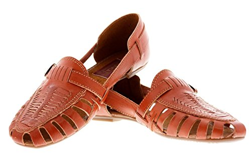 Cowboy Professional Women's 772 Rustic Cognac Leather Boho Slip On Mexican Huaraches Closed Toe 7 by Cowboy Professional