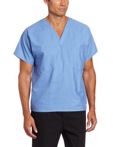 Landau Unisex Scrub Top, Ceil Blue, - Blue Unisex Scrub