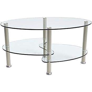 SUNCOO Glass Oval Side Coffee Table Shelf Chrome Base Living Room Furniture  Clear